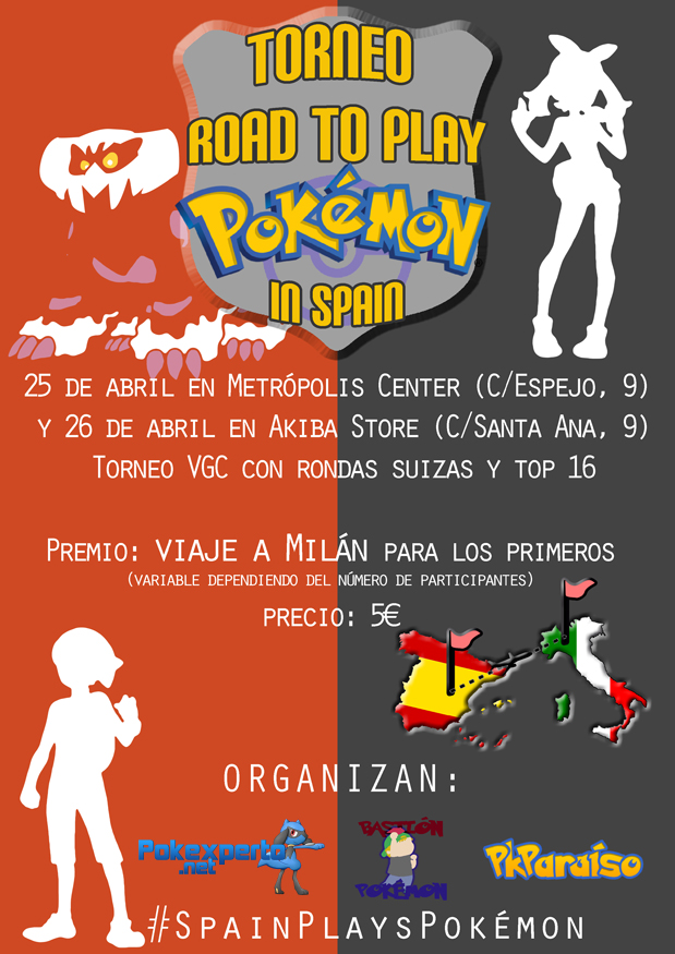 Cartel vertical Road to Play Pokémon in Spain